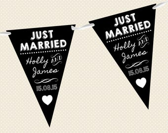Personalised Chalkboard Bunting - Wedding - Just Married - Design 2 - Made in UK
