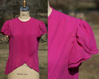 Fuscia Blouse Small.  80s Layered Tulip Sleeve Blouse.  Crossover Drop Front.  Pink Vintage Blouse.  Size 4 Blouse.  Size 6 Blouse.  Keyhole