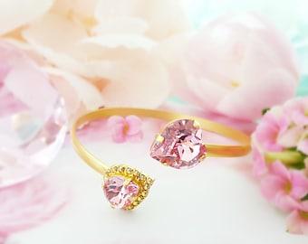 Swarovski Heart Bracelet - Pink Crystal Bracelet - Gold Bangle Cuff Bracelet - Light Pink Bracelet - Pink Tourmaline - Valentine Gift B3002