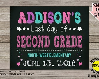 Last Day of School Sign, Last Day of Preschool Chalkboard Poster, Last day of second grade, Back to School, Photo Prop, Girl Sign, Printable