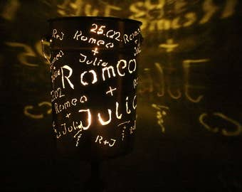 """Wish-Name-lampshade """"for lovers"""" made of metal"""