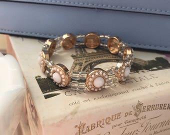 Vintage Inspired Gold and White Beaded Bracelet - 6.5 Inch