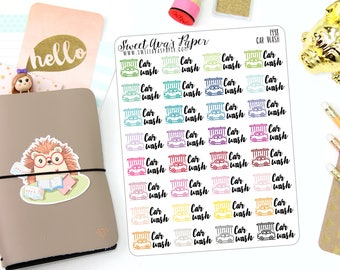 Car Wash Planner Stickers - Car Care Planner Stickers - Car Maintenance Planner Stickers - Adulting Stickers - Functional Stickers - 1448