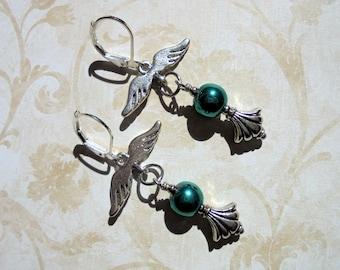 Teal Blue Angel Wing Earrings (3989)