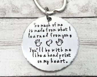 Teacher Keychain - Teacher Gift - Handprint on My Heart - Gift for Teacher - Personalized Teacher Keychain