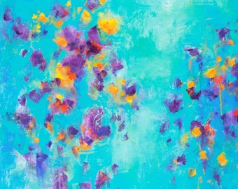Turquoise abstract original painting large wall art contemporary modern art by Don Bishop