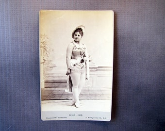 Rosa Lee, Cabinet Card Antique Photograph By Houseworth's Celebrities, San Francisco,Victorian Singer In The Soldene Company, 19th Century