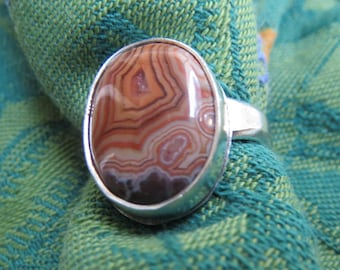Strawberry Agate Oval in Argentium Sterling Ring Size 7 & a Half
