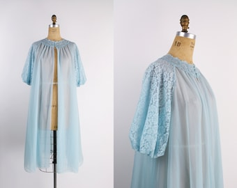 50s Lace Baby Blue Pin Up Sheer Robe / Lace Sleeves / Vintage Lingerie / 50s Robe / Full Robe Slip/ Wedding Slip /Vintage Nightgown/One Size