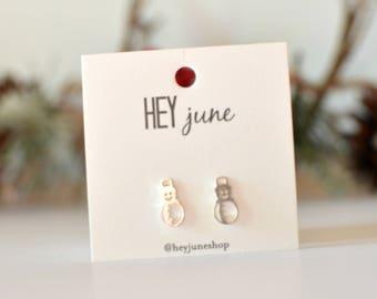 Snowman stud earrings, snowmen earrings, silver snowmen earrings, christmas earrings, christmas studs, winter earrings, holiday earrings