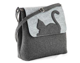 Felt purse with cat Grey Big Size Felt Bag with a Cat, Kitty, Cross body, handbag, purse, felted, anthracite, modern, eco, cat purse,