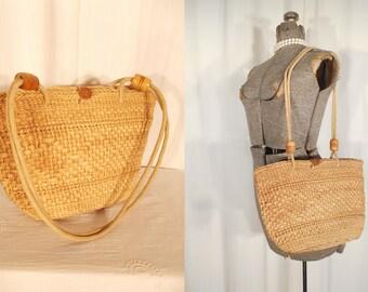 Vintage Basket Purse - Large Summer Basket Shoulder Bag, 1950s 50s Straw Novelty Purse Beach Bag