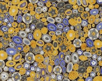 Robert Kaufman Gustav Klimt Blue Cobalt Pebbles Flower Mille Fiore Gold Cotton Gilded Fabric BTY SRKM-17183-72