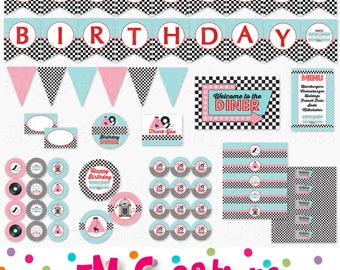 50s Birthday Party Decor - 1950 Sock Hop Diner Birthday Party Printables -Poodle Skirt Roller Skate Cupcake Toppers Banner Instant Download