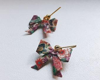 Origami jewelry, earrings, bow tie, liberty, ribbon, bow earrings, origami earrings