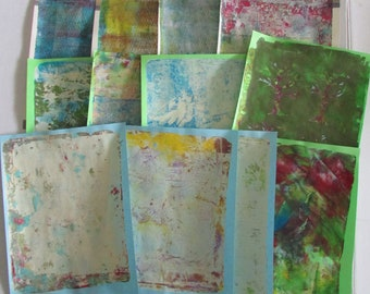 paper pack smashbook art journal junk journal diary monoprints gelli prints paper lot 12 pages