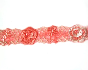 "DN504-2CM""Red  Beautiful Flower Lace, Price is for 1 yard."