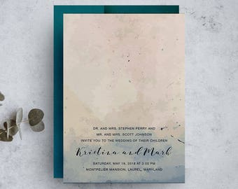 watercolor invitation, bohemian wedding invitations, navy wedding invitation, blue and blush invite, save the dates, modern wedding