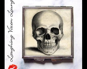 Skull Pill Box - Horror Compact Mirror - Pill Case - Bag Mirror - Purse Mirror - Makeup Mirror - Vintage Skull Style-A