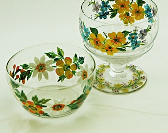 Reduced 2 Vintage Raised APPLIED ENAMELED Decorated Sauce Bowls One Flat n One Ftd Perfect for Mints Candy Nuts Sour Cream r Various Sauces.