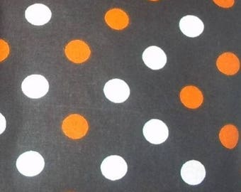 Orange Black White Dots Cotton Broadcloth Fabric 1/2 Yard Cut New
