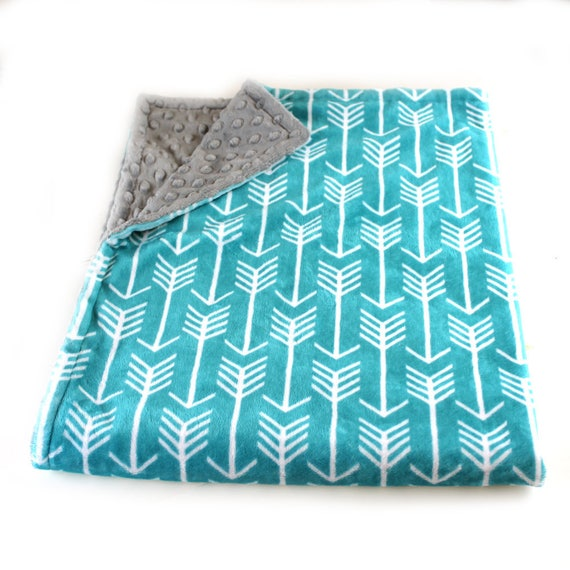 Adult Minky Blanket, Personalized Blanket - Teal Minky Throw Blanket / Twin Blanket // Arrow Blanket // Soft Blanket // Name Blanket