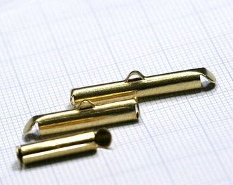 round tube with fold-in ends, 20 pcs 4 x 15 mm 2mm inside diameter. end bar, raw brass, 1342R rtwf
