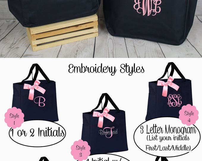 6 Personalized Bridesmaid Wedding Tote, Bridesmaids Gift, Tote Bags Personalized Tote, Bridesmaids Gift, Monogrammed Tote