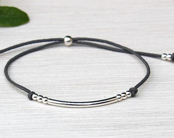 Bracelet Bangle and silver beads 925 on cord