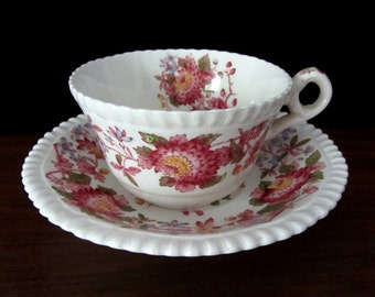 Copeland Spode Floral Teacup and Saucer in the Aster Pattern