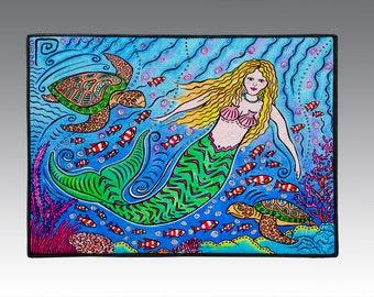 """Mermaid and Sea Turtles, 18"""" x 24"""" Door Mat, Floor Mat, Home Decor"""