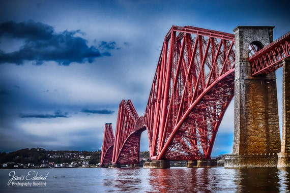 Edinburgh Digital Download, Forth Bridge, Landscape Photography, Scottish print, wall art, fine art photography, river, Scottish photography
