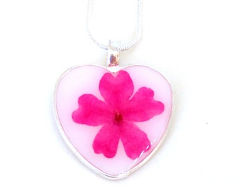 Real Pink Verbena resin pendant necklace -  flower encased in resin, Pressed Flower Jewelry - Resin Necklace - Resin Jewelry - Valentine Day