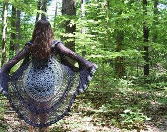 "Crochet Lace Duster Sweater - ""Joni"" / Bell Sleeve Lace Cardigan / Recycled Sweater Coat - Hippie Retro Rocker Gypsy Mandala Sweater"