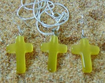 Yellow Cat's eye Quartz Earrings and Pendant Vintage Cross Set