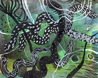 FROZEN WEEDS - Contemporary Art - Abstract Painting -  Moorland Winter - Original Painting - ElizabethAFox