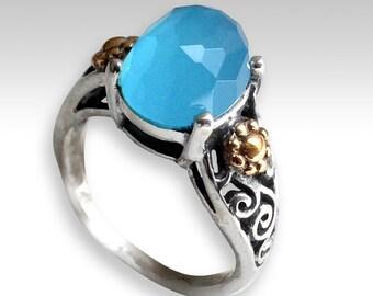 Bague filigranée, bague en argent, bague quartz océan, floral anneau, anneau de pierre bleue, anneau bicolore, boho bague, bague de gitan, unique - magnifique R2218