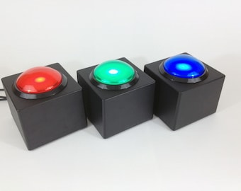 USB Button - Big Red Button - Red Blue or Green button - DIY Wedding Photobooth or Interactive Installation - LED Light
