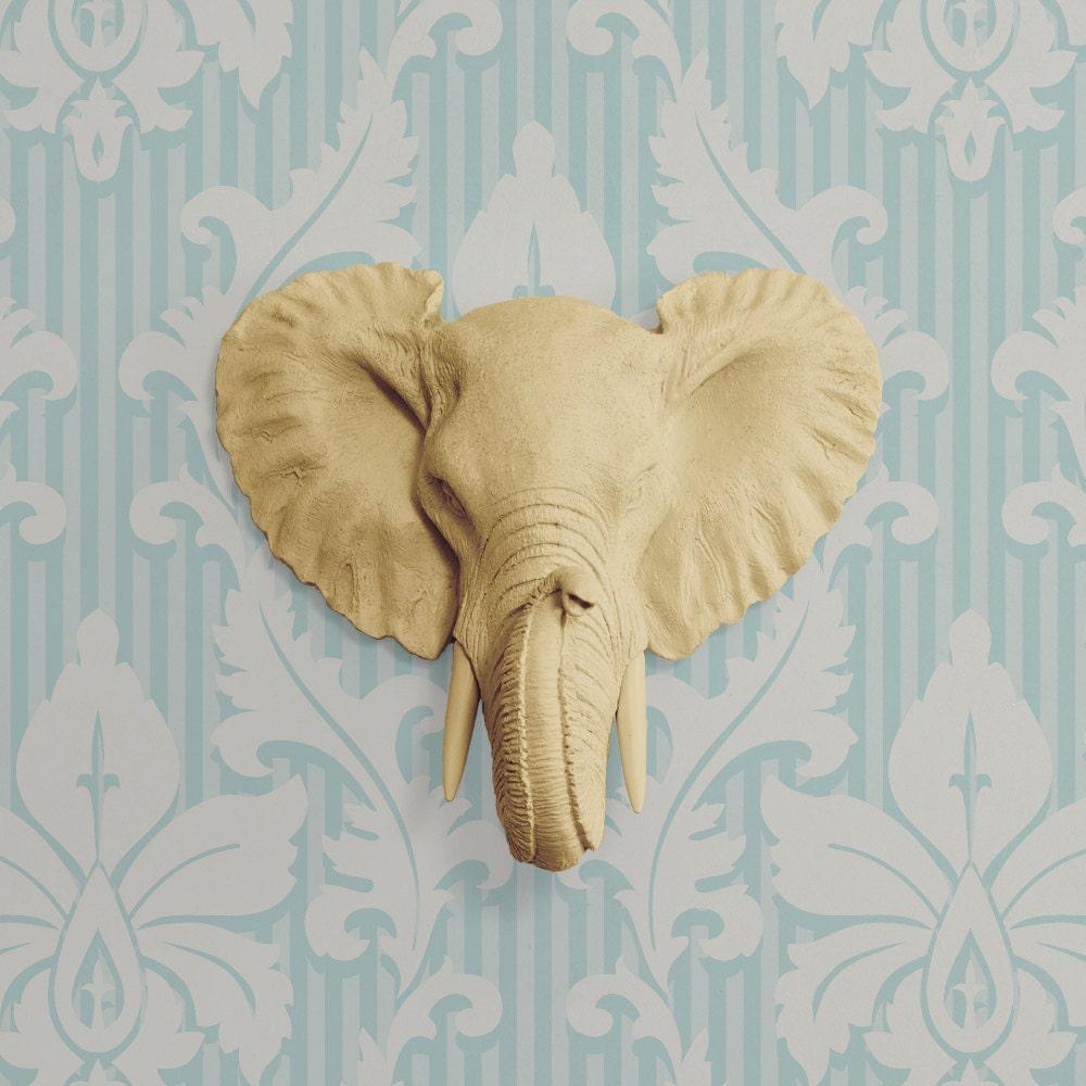 The Mini Savannah in Khaki Faux Elephant Head Fauxidermy