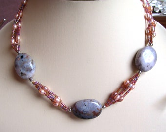 Ocean Jasper Ovals, Naturally Colored Freshwater Pearls and Seed Bead Necklace