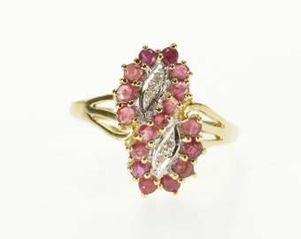 10k Ruby Diamond Encrusted Twist Cluster Statement Ring Gold