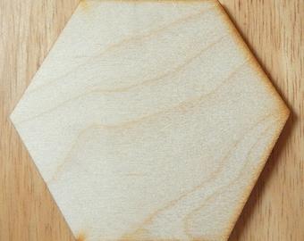"Wood Hexagon 10 pack - Craft Plywood Hexagon - 3 1/8"" (flat to flat)"