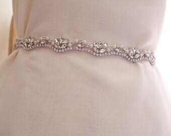 bridal sash belt, wedding belt trim, rhinestone and pearl bead sash