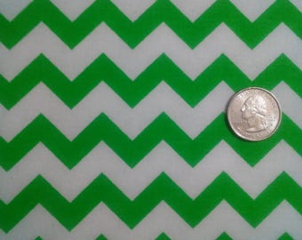 6 yards destash clearance cotton fabric sale green and white chevron