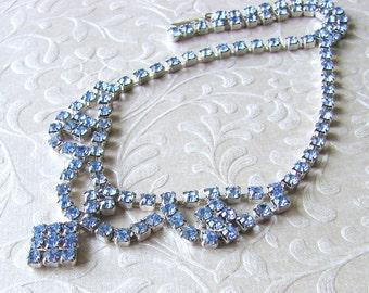 Something Blue Rhinestone Necklace 1950s Vintage Jewelry Choker Bib Drape Wedding Bridal Formal Bridesmaid Pageant Ballroom Prom Accessory