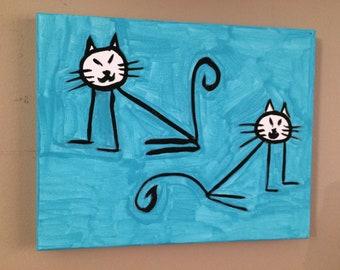 Stick Cats original painting 8 x 10.  Great for kids.  Children's wall art.