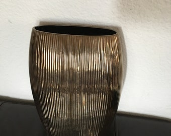 "Vintage Crate and Barrel Bronze Metallic Ridged Vase/Portugal/15"" High/Mid Century Modern"