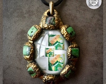 Tarot Three of Cups with Ruby Zoisite Photo Cab Pendant | Made in Melbourne | Australian Seller