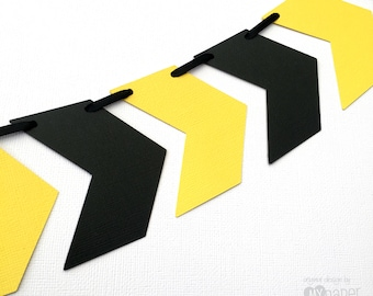 Chevron Arrows banner - black and yellow. Construction party. Photo Prop, Birthday party garland, bunting, baby shower. First birthday, one.