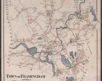 Framingham map Etsy